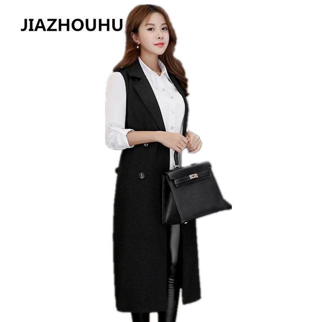 6c35ee8d43d1 Grande Taille Réglable Taille Printemps Femme Gilets Long Slim Noir Femmes  de Gilet Sans Manches Manteau