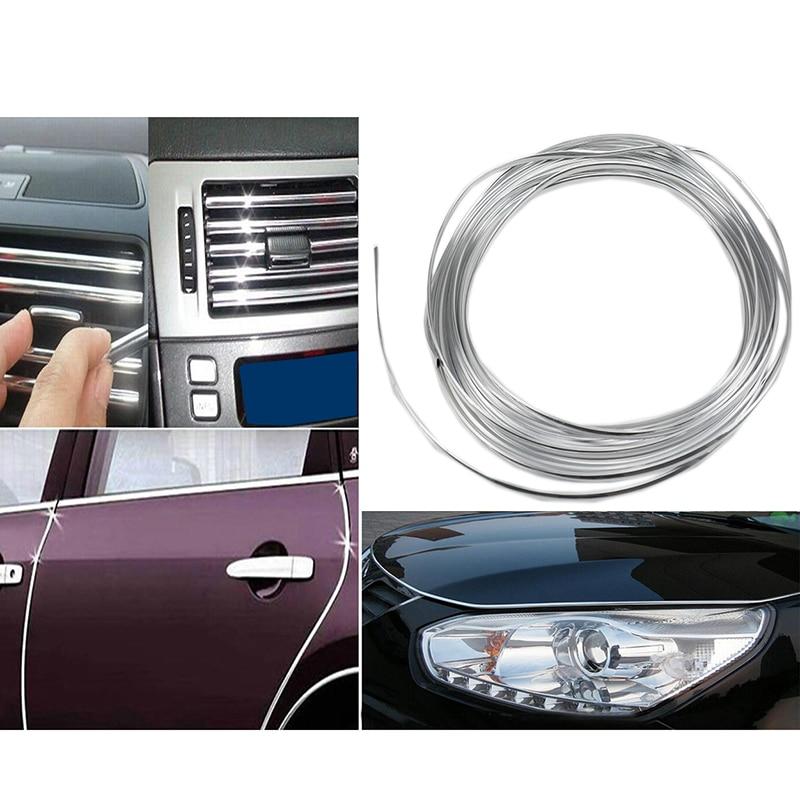 3M Silver Car Interior Decor Door Automotive air conditioning U Style decoration strip for Skoda Yeti Octavia Superb2 Fabia a5
