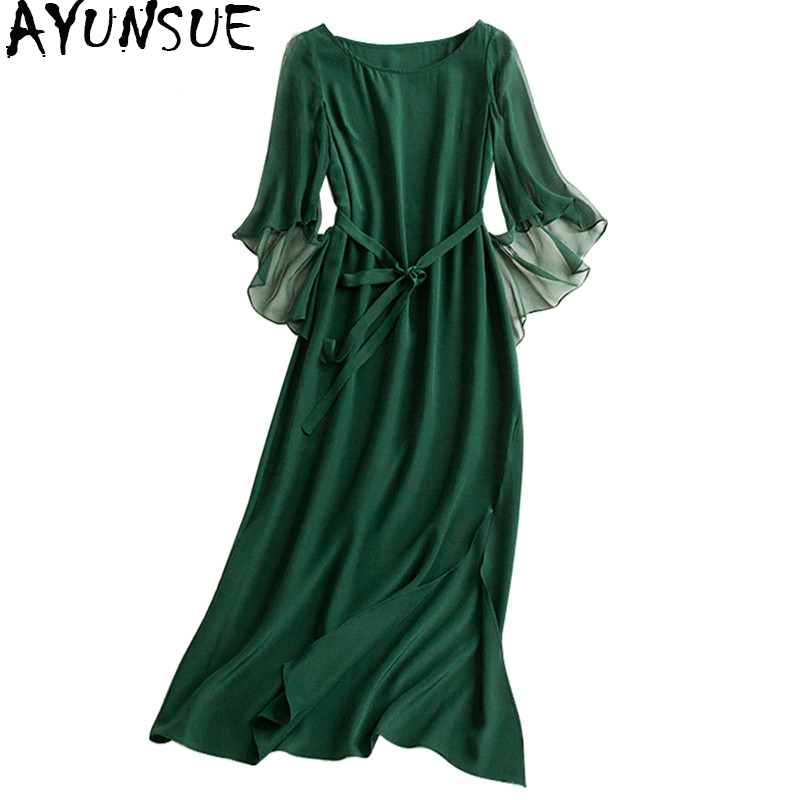 AYUNSUE Women Silk Long Dress Female 100% Natural Silk With Belt Dress Maxi Solid Ruffle Sleeve Dresses 2018 Spring Boho WYQ1356