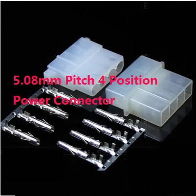 10 Sets Molex 5.08 Mm 4 Position Male Plug & Female Receptacle Housing + Contact Pin Terminal ATX / EPS Power Connector 0.20 In