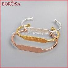 BOROSA 10pcs Wholesale Gold Color Brass Blank Bangle Settings Golden Flat Cuff Bracelet Bangle Making PJ026-G
