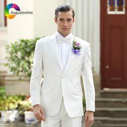 Индивидуальный заказ цвета слоновой кости Для мужчин Нарядные Костюмы для свадьбы Slim Fit Best Man пиджаки из 2 предметов куртка брюки элегантное