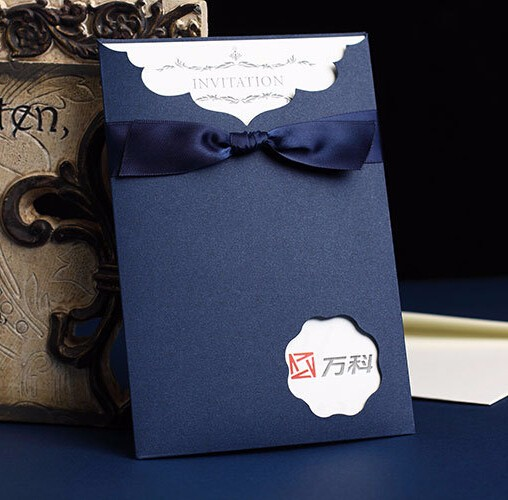 Coffee Royal Blue Gold Red 2017 Vine Wedding Invitations Card With Ribbon Business Envelops 50pcs Lot In Cards From Home