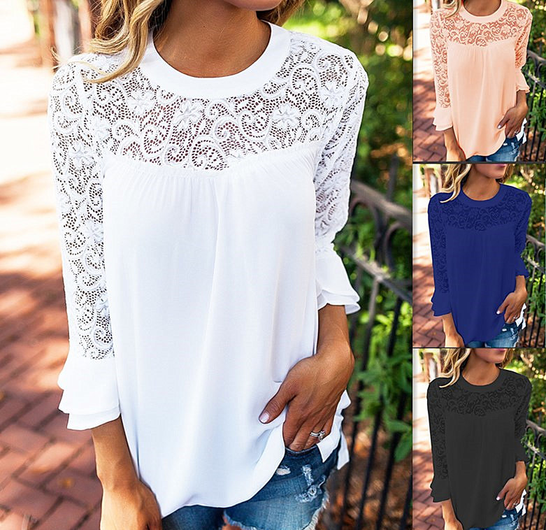 2018 Summer Women Top Long Sleeve Elegant White Lace Blouse Femme Hollow Out Ladies Office Shirt Transparent Cotton Blusas Mujer