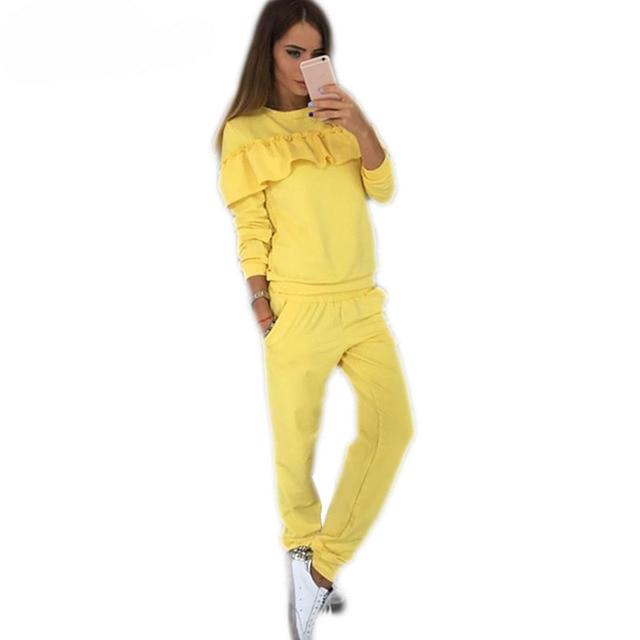 Women Hoodies Set Ruffle Crewneck Long Sleeve Sweatshirt Pullover Long Pants Skinny Autumn Sweatsuit Women Two Piece Set