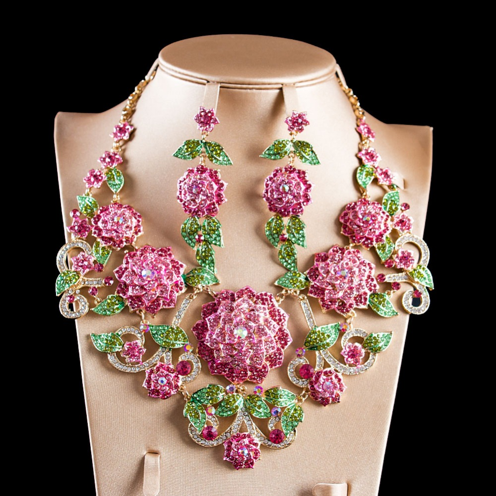 LAN PALACE boutique wedding jewelry set big flowers Corsage Austrian crystal necklace and earrings for wedding