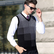 100%autumn Winter Men Wool Vest Sleeveless Sweater Plaid Casual Computer Knitted V-neck Vest size S -XXL
