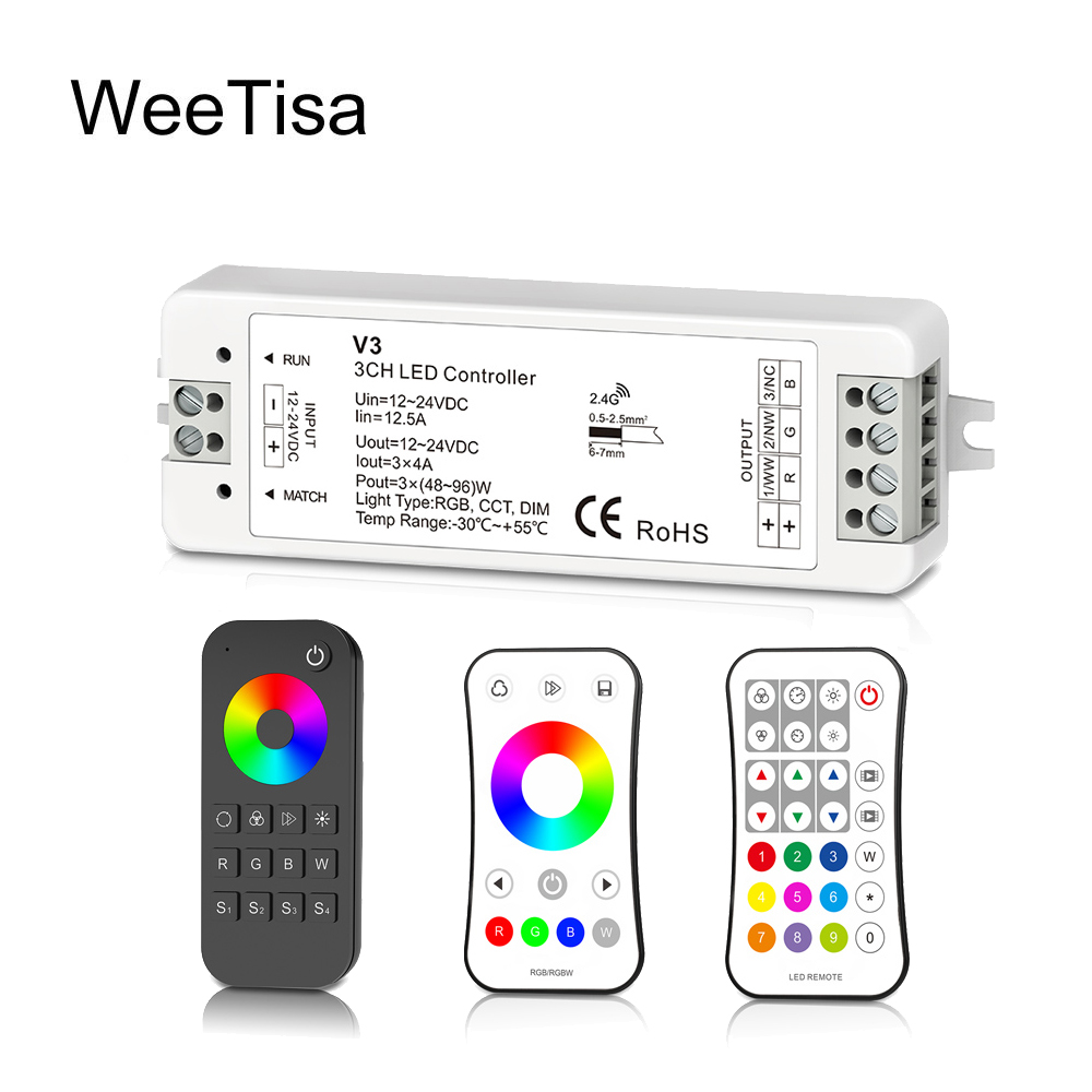 US $8 95 40% OFF|LED Controller RGB RGBW DC 12V 24V 2 4G 12A RF Wireless  Remote Dimmer V3 VP Work with Wifi Relay Controller for LED Strip Light-in