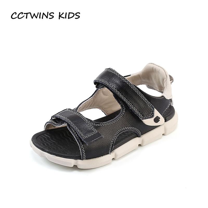 CCTWINS KIDS 2018 Summer Boy Genuine Leather Shoe Children Fashion Barefoot Beach Sandal Baby Brand Soft Flat Toddler BB189
