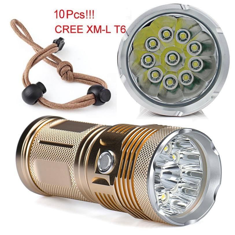 30000LM 10x XM-L T6 LED Flashlight Super Bright Torch 4x 18650 Battery Charger