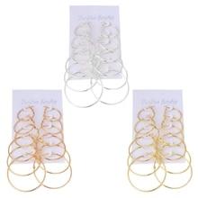 6Pairs/set Vintage Dangle Ring Big Circle Hoop Earrings Women Steampunk Ear Clip