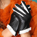 2016 girls new performance dancing gift time Fashion driving  women genuine leather  black white hot style dress gloves Mittens