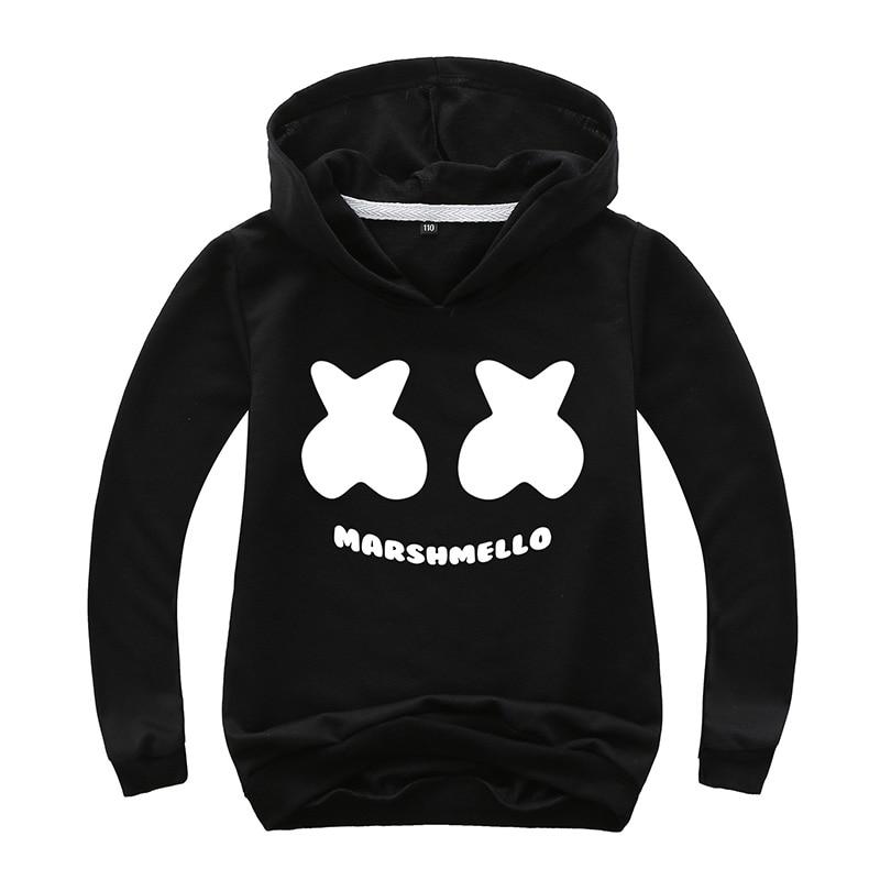 Sweatshirt Hoodies Long-Sleeve Marshmellow-Pattern Autumn Teens Kids 12-14-Years Cotton