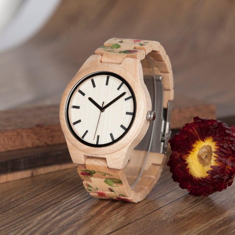 Impresión flores Bobo Bird L-L26 proveedor de China de alta calidad logotipo personalizado Arce reloj hombres reloj de madera OEM