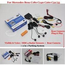 Liislee Car Parking Sensors + Rear View Camera = 2 in 1 Visual / BIBI Alarm Parking System For Mercedes Benz C180 C240 C260