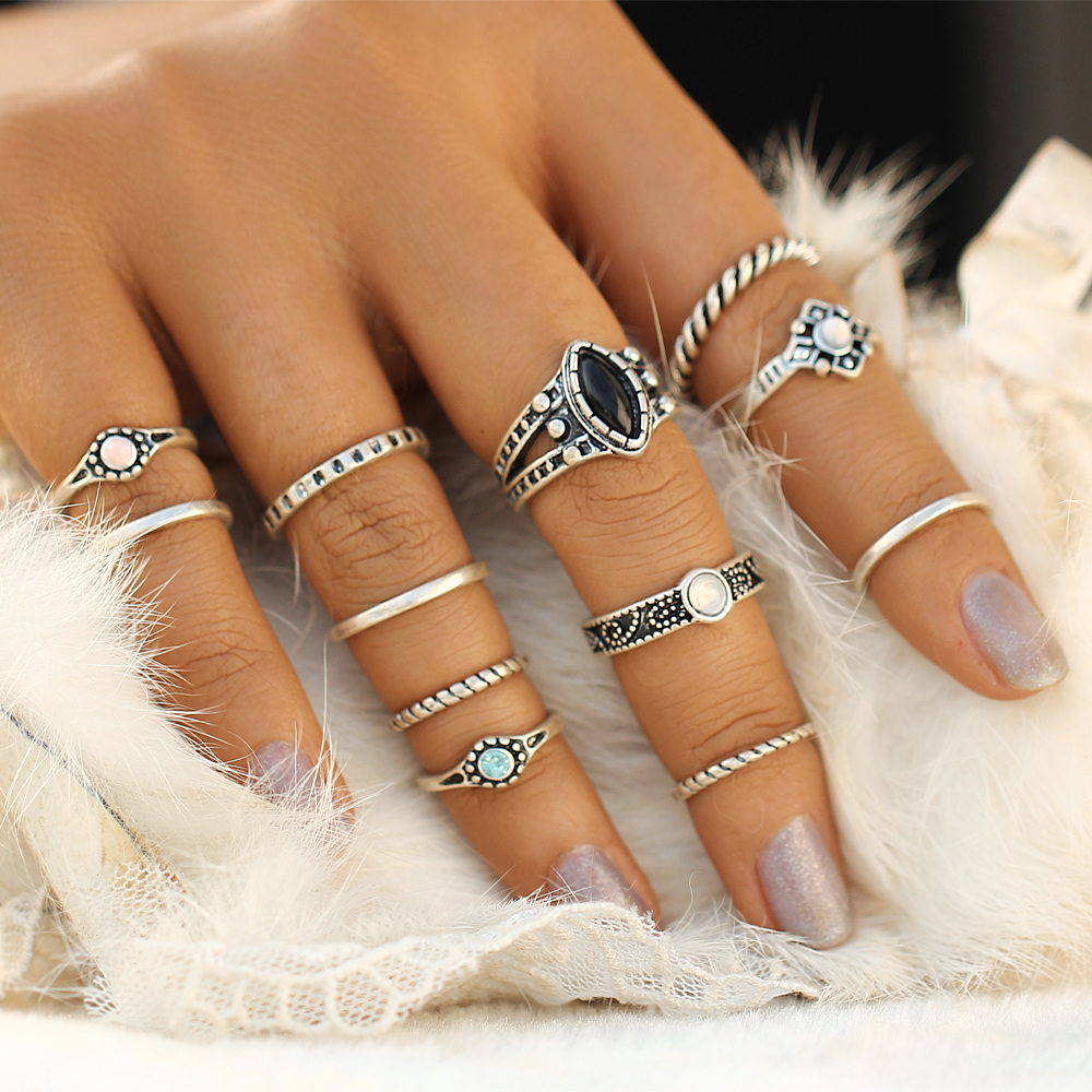 IF YOU Design Vintage Ring Set Tibetan Crystal Female Midi Rings ...