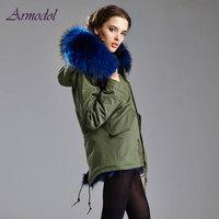 Winter Women Popurlar Fur Parka 2017 Real Fox Fur Female Jacket Mrs Brand Jacket Big Raccoon