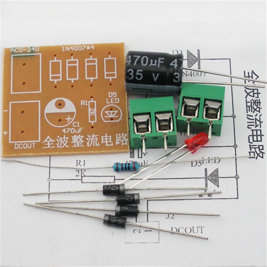 10PCS Full-wave rectifier circuit board suite components IN4007 bridge rectifier AC to DC power converter