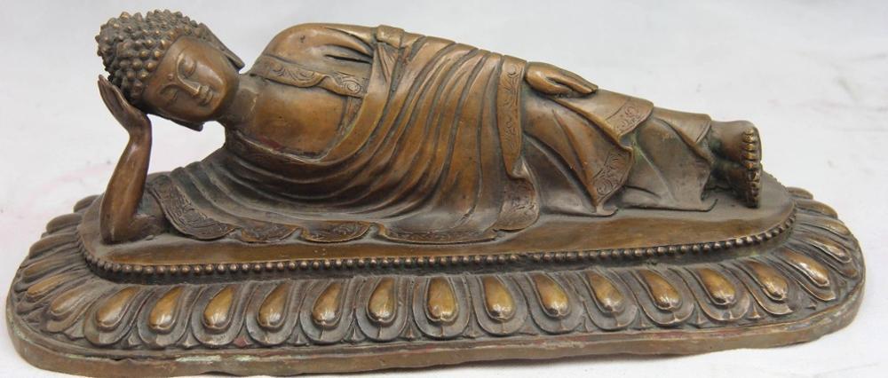 Tibet Buddhism Temple Copper Bronze Lie Horizontal Sleep Sakyamuni Buddha Statue