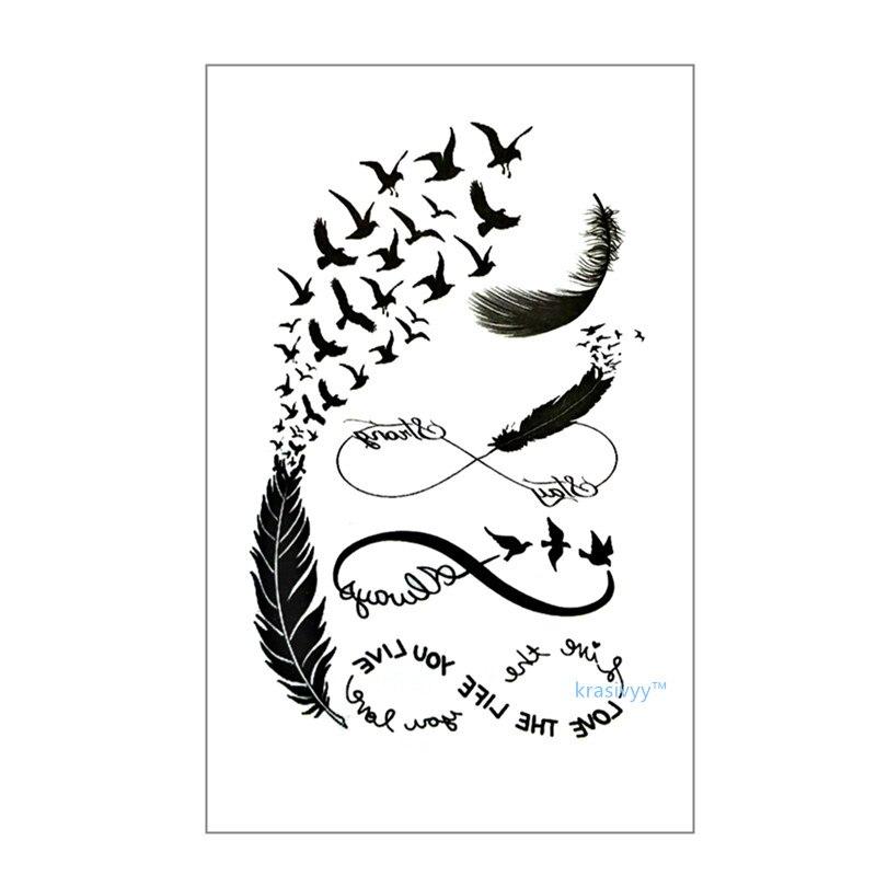 Waterproof Temporary Tattoo Sticker on body art cute birds Water Transfer flash tattoo fake finger tattoos for girls boy