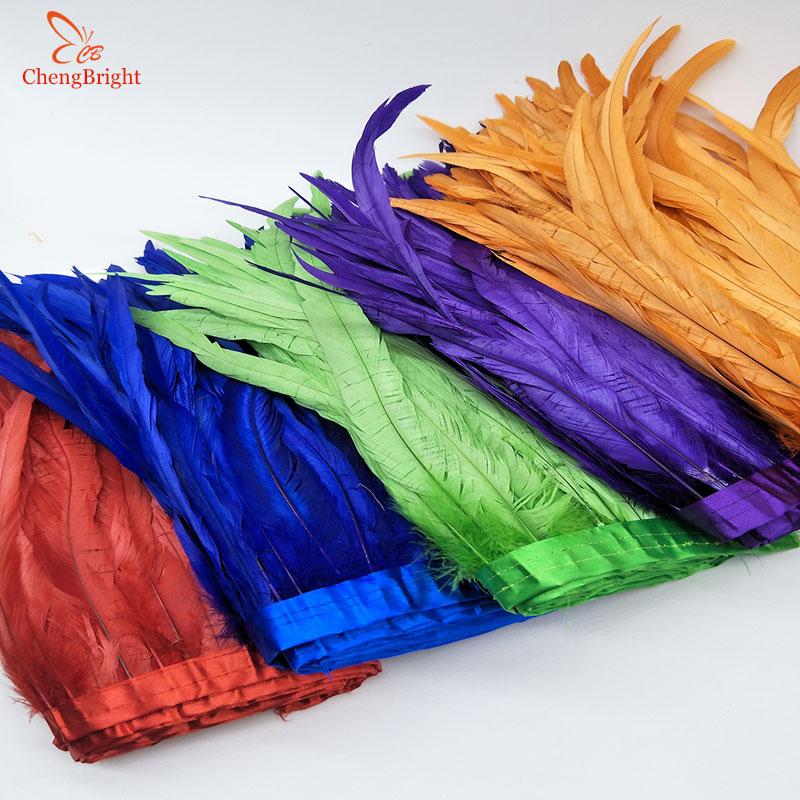 CHENGVRIGHT 25-30cm altın horoz kuyruk döşeme Coque tüy kırpma/şerit el sanatları elbise etek karnaval kostümleri tüyleri