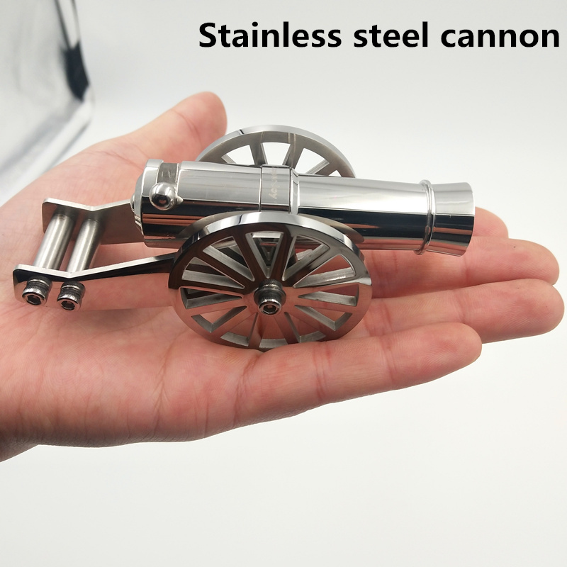 stainless steel Miniature Napoleon Cannon Metal Naval Desktop Model Artillery Kit for Collection A projectile can be fired