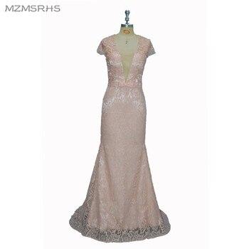 Sexy Evening Dress Deep V-Neck Long Mermaid Prom Gowns Lace Robe De Soiree Elegant Formal Evening Dresses 2017