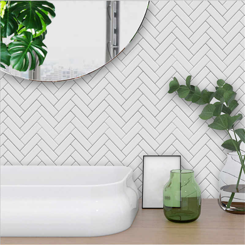 Funlife Nordic modern minimalist white herringbone style tile stickers bedroom kitchen living room wall stickers TS040