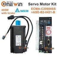 Delta 400W AC servo motor drive kit ECMA C20604SS+ASD B2 0421 B with brake diameter 60mm 220V 1.27NM 3000rpm with 3m cable