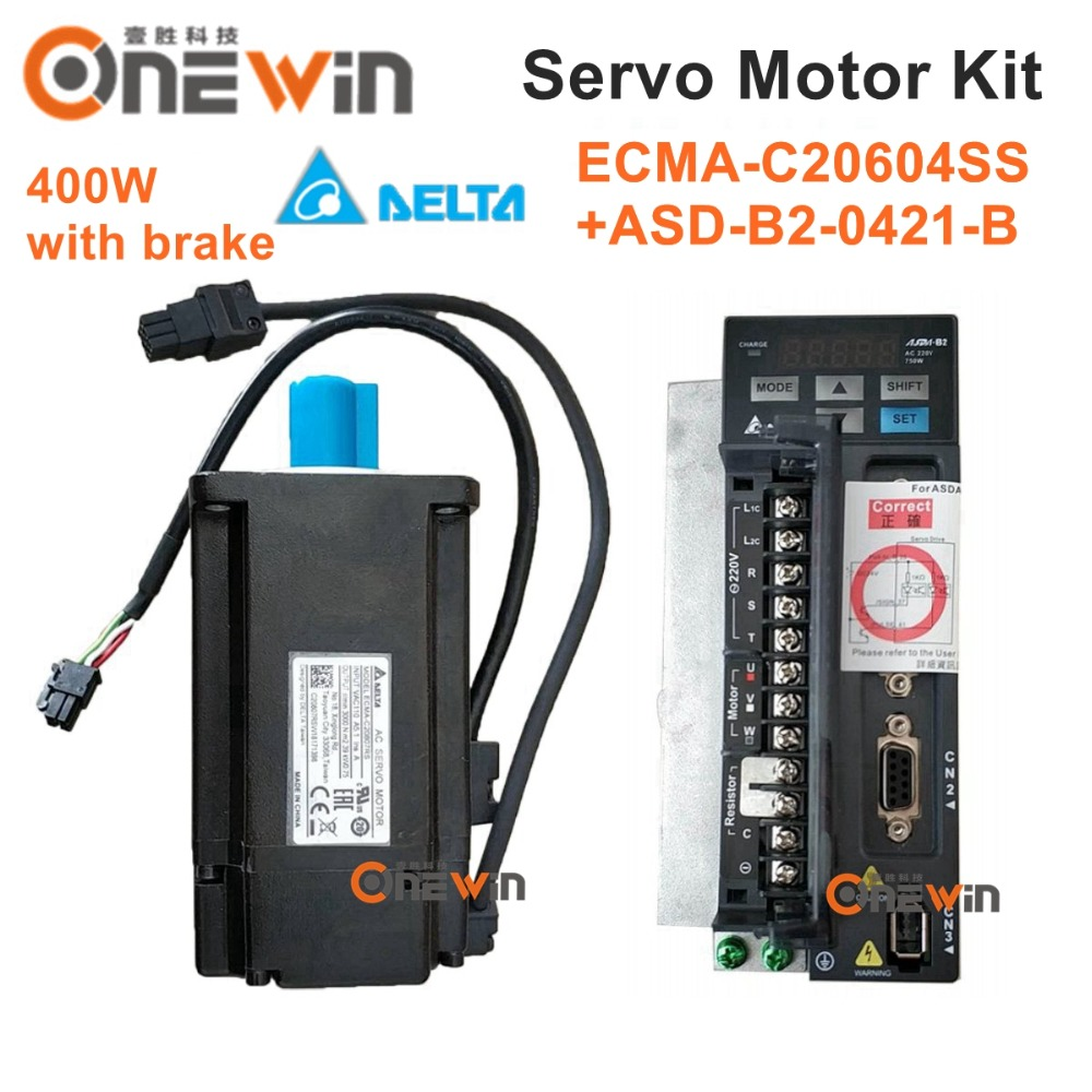 Delta 400W AC servo motor drive kit ECMA-C20604SS+ASD-B2-0421-B with brake diameter 60mm 220V 1.27NM 3000rpm with 3m cable стоимость