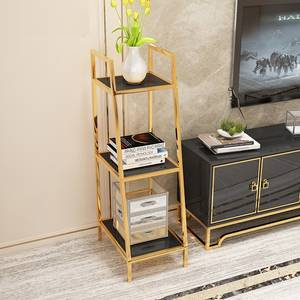 "120cm High 3'11""High 3-Tier Shelf Storage / Gilded Metal Racks"