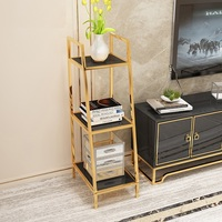 120cm High 3'11High 3 Tier Shelf Storage / Gilded Metal Racks
