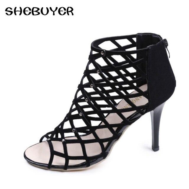 ec0653257 Sandálias de verão Gladiador Salto Alto Mulheres Sexy Frente Aberta Toes  Stilettos Bombas Roman Cortar Sapatos