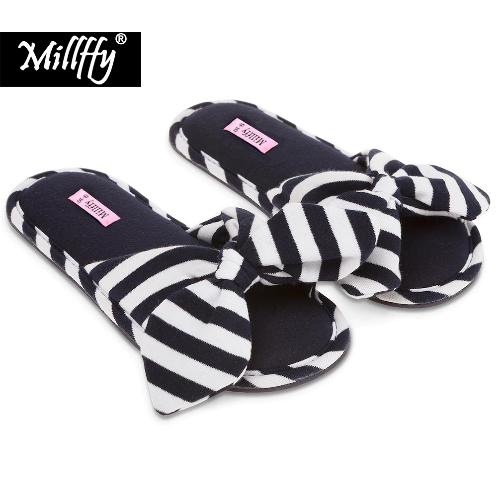 Millffy 2018 new summer sweet Ladies shoes pink girl home slippers cotton indoor slip on Knot Stripe Slippers millffy 2018 new summer sweet ladies shoes pink girl home slippers cotton indoor slip on knot stripe slippers