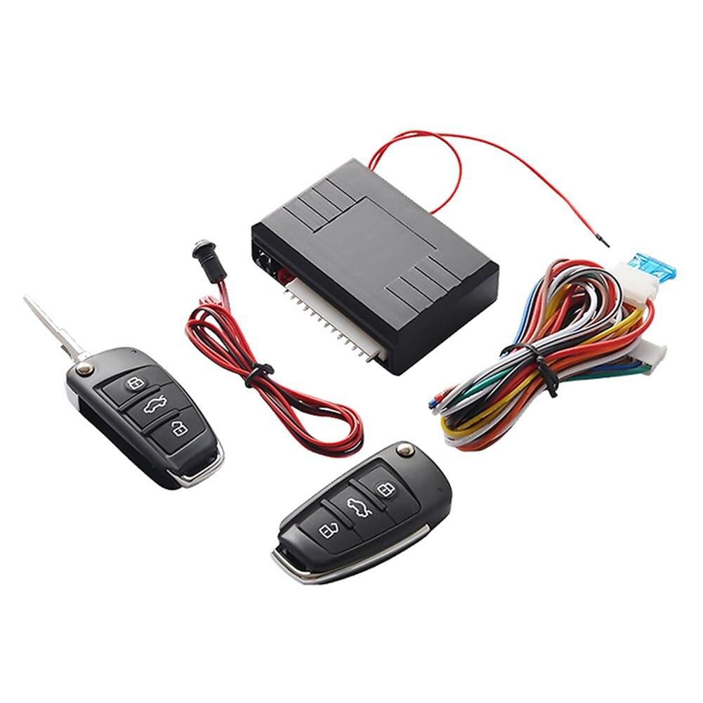 Carro universal sistema de entrada sem chave botão start stop led chaveiro kit central fechadura da porta com controle remoto