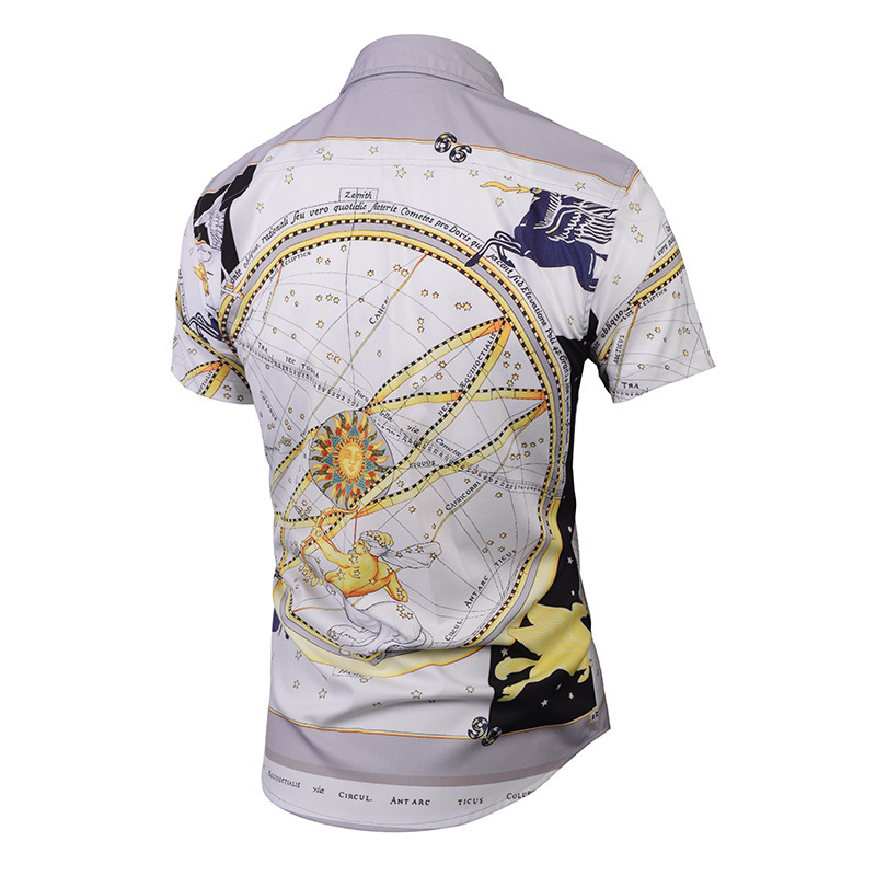 Men's Summer Pattern Originality Pegasus 3D Printing men Shirt slim mens Fashion shirts Street Youth Tide Brand Shirt camisa