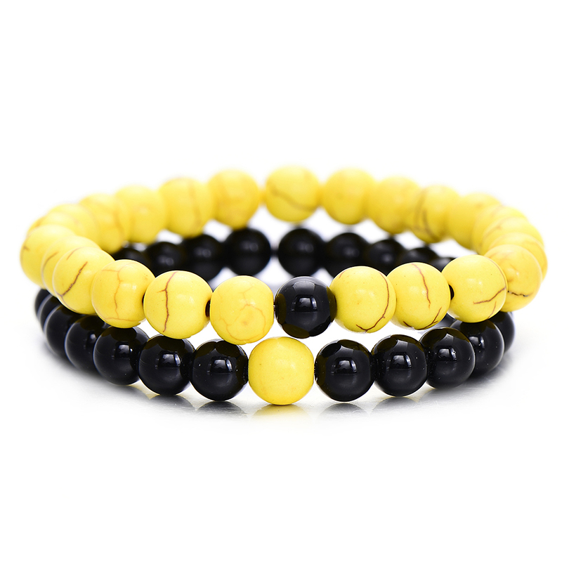2pcs/Set Fashion 8mm Natural Black Onyx Beaded Bracelets & Bangles Summer Yellow Distance Bracelet for Lovers Couple Gift