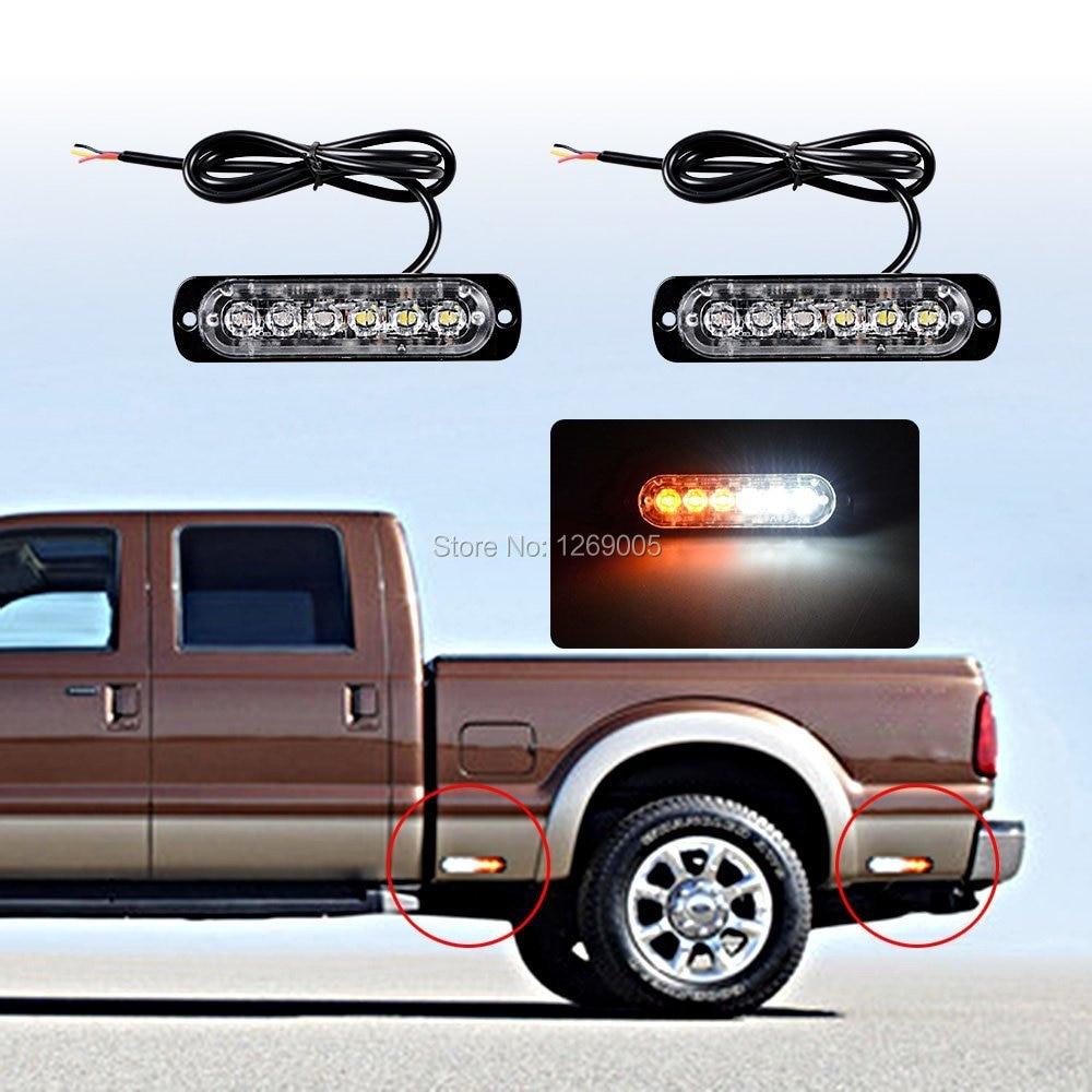 2 STK Högkvalitativ 6 LED-bilstropp Ytmontering akut Bärnsten Led - Bilbelysning - Foto 5