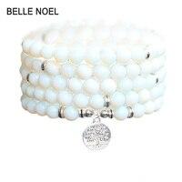 Opal Tree Of Life Jewelry Yoga Mala Bracelet Stone Healing Protection Elastic Beaded Stacking Bracelet Spiritual