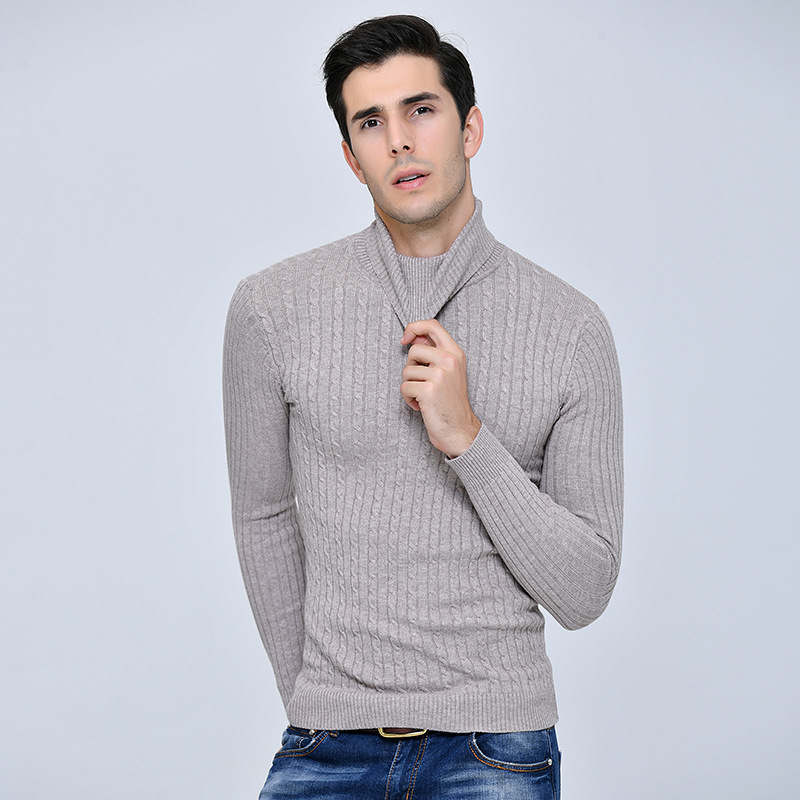 High Quality Winter Men's Cashmere Warm Sweater Elastic Turtleneck Thick Sweater Long Sleeve High Collar Male Sweater Pullover