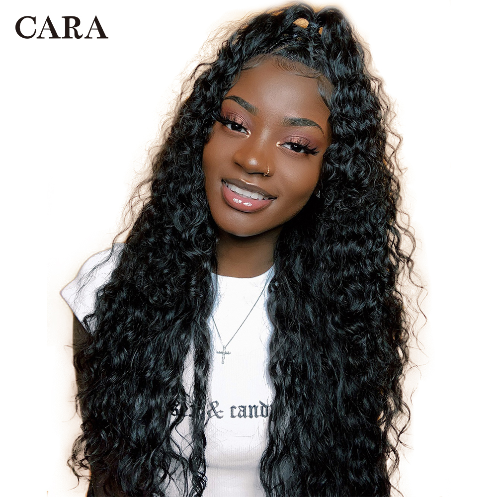 360 Lace Frontal Wig Pre Plucked With Baby Hair Deep Wave Brazilian Human Hair 180% Bleached Knots Natural Color Remy Wigs CARA