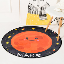 Cartoon Planet Smiley Sun Mars Carpet Rugs Soft Thicken Large Round Tapete For Kids Play Area Rug Parlor Bedroom Non-Slip Mats
