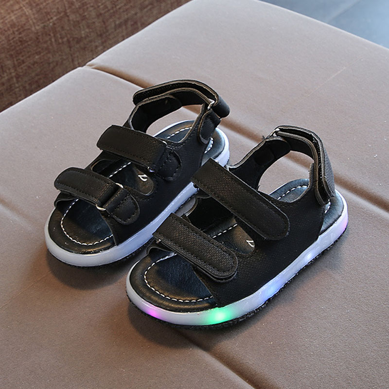 1 Pair Summer Kids LED Sandals Strappy Light-Up Boys Girls Children Luminous Sandals Shoes -17 S7JN