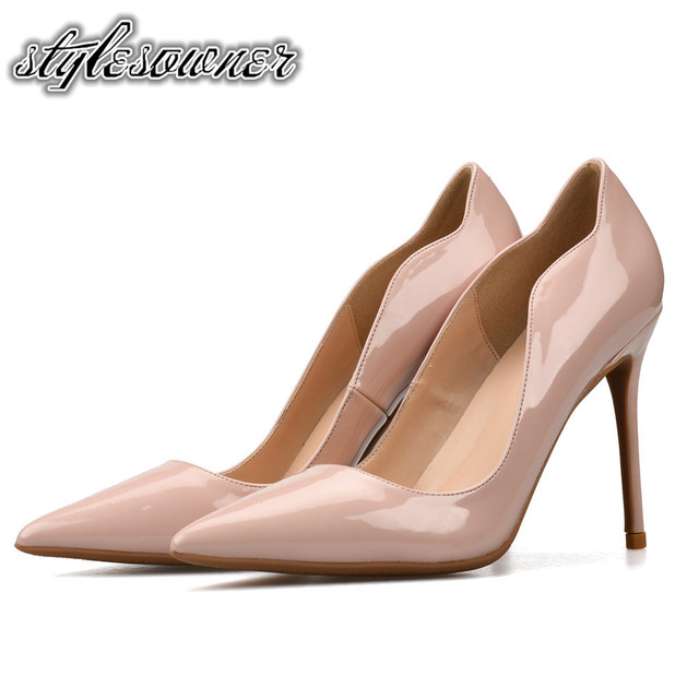 d42a9db9c Stylesowner Top Selling Black Nude Color Mature Slip on Pointed Toe Woman  Brand Shoes Pumps High Heels Stiletto Shoes For Woman
