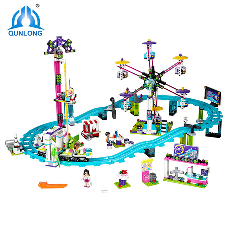 Qunlong Amusement Park Roller Coaster Toys Building Blocks Compatible With Brand Model Bricks DIY Educational Toys For Kids Gift wange educational learning toys kids diy set toys cars plastic model kits building bricks blocks for boys 4 in 1 with motor