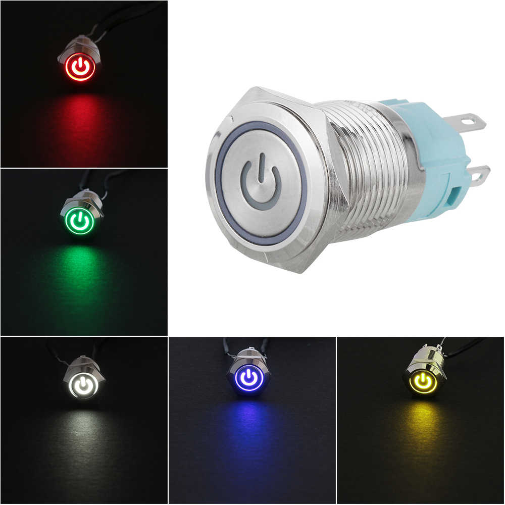 12mm 12V Car LED Power Momentary Push Button Metal ON/OFF Switch Waterproof LED Power Push Button 1NO 1NC red blue