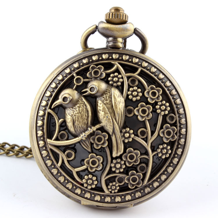 Retro Design Bronze Lovely Bird Animal Quartz Pocket Watch Necklace Pendant With Chain Laser Engraved Fob  Relogio De Bolso