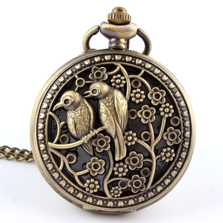 Retro Design Bronze Lovely Bird Animal Quartz Pocket Watch Necklace Pendant With Chain Laser Engraved Fob  Relogio De Bolso