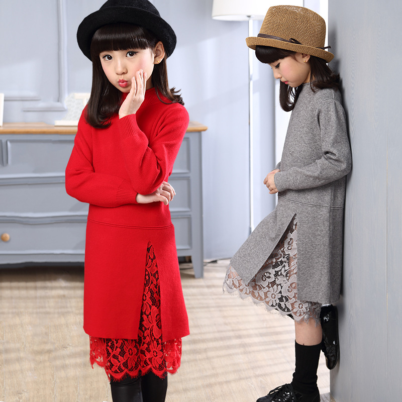 2018 Kids Winter Warm Long Sleeve Lace Dress Fashion Girls Sweater Dresses Knitted Children Clothing Back to School Outfits Sale