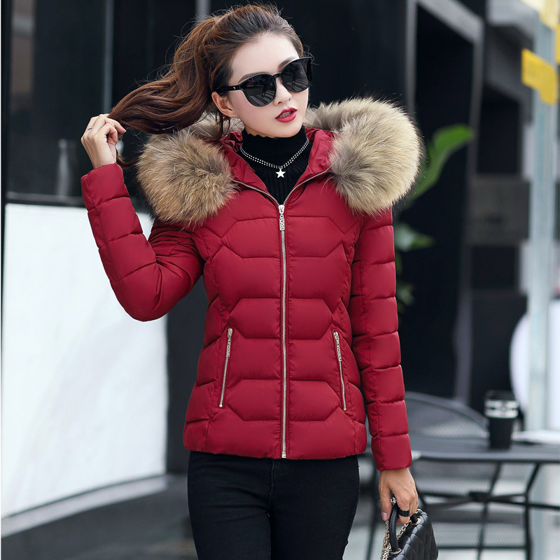 New 2017 women winter coat Fur collar parka womens thick jacket cotton-padded fashion brand slim fit bomber jackets abrigo mujer трусы стринги quelle infinity lingerie 1016584